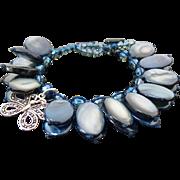 Vintage Sterling Silver Butterfly Blue Colored Shell Bracelet
