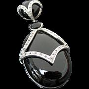 Beautiful LARGE Sterling Silver Onyx & White Topaz Enhancer