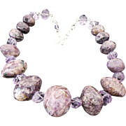 Vintage Sterling Silver CHUNKY Amethyst Necklace ~ Heavy~ 283.4 Grams