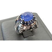 Vintage Sterling Silver Cabochon Tanzanite Ring