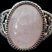 Vintage Sterling Silver Pink Quartz Heart Motif Ring