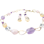 Vermeil Multi Color Amethyst, Rose Quartz, Crystal Link Necklace & Matching Earrings