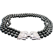 Sterling Silver Triple Strand Black Onyx Decorative Simulated Diamond Clasp Necklace