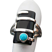 Artistic Sterling Silver Elongated Onyx & Turquoise Ring  Sterling Silver Elongated Onyx & Turquoise Ring