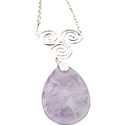 Sterling Silver Huge Amethyst Swirl Necklace