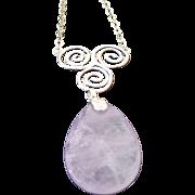 Sterling Silver Huge Amethyst Swirl Necklace