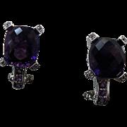 Sterling Silver 8.00 Carat Amethyst & Diamond Pierced Earrings