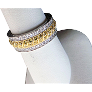 Vintage Sterling Silver Yellow/White Eternity Band