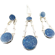 Vintage 950 Silver Lapis Necklace & Matching Earrings