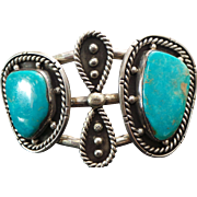 """Native American Sterling Silver, HUGE Blue Turquoise """"Nevada"""" Hand Made Cuff"""