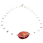 Vintage Mother Of Pearl & Jasper Necklace ~ Circa 1995