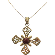 "Sterling Silver/Vermeil Carnelian Large Cross/Necklace ~ 18"" Length"