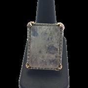 Sterling Silver/ Rose Gold Vermeil Huge Moonstone Ring