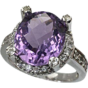 Sterling Silver 4.5 Carat Oval Amethyst & White Topaz Ring