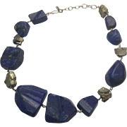 "Sterling Silver Huge Freeform Natural Lapis Lazuli And Natural Marcasite Necklace 18"" - 21"""