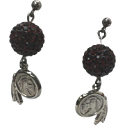 Sterling Silver Pierced Drop Faceted Red CZ Ball Indian Head Coin Earrings