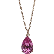 Sterling Silver Rose Gold Vermeil 3.5 Carat Pear Shape Lab Created Pink Sapphire Necklace