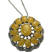 Sterling Silver Yellow Jade Pendant/Necklace