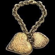 Sterling Silver/Vermeil Puffed Heart Charm Bracelet