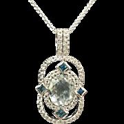 Sterling Silver 5.00 Carat Aqua Marine ,White & Blue Topaz Necklace