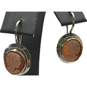 Sterling Silver Pierced Cameo Drop Earrings