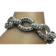 Sterling Silver Simulated Diamond Link Bracelet
