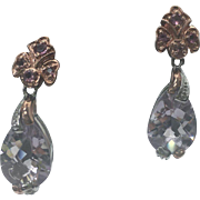 Rose Gold Vermeil 2.00 Carat Amethyst Pierced Drop Earrings