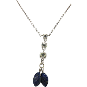 Sterling Silver Lapis & Simulated Diamond Lavalier Necklace