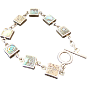 Sterling Silver Abalone/Mother Of Pearl Reversible Toggle Bracelet