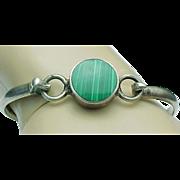 Mexico Sterling Silver Hinged Malachite Bangle Bracelet
