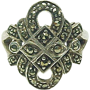 Vintage Sterling Silver Marcasite Swirl Ring