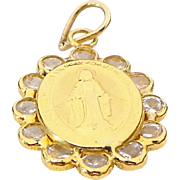 14K Yellow Gold Blessed Mother Mary Faux Diamond Pendant