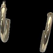 14 K Yellow Gold Pierced Medium Hoop Earrings