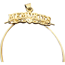 14K Yellow Gold Diamond Cut Memories Charm Holder