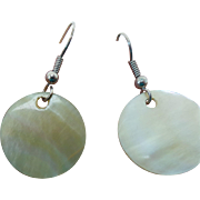 Sterling Silver Mother Of Pearl Pierced Wire Drop Earrings