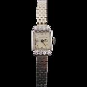 Art Deco Manual Movado 14 Karat White Gold & Diamond Ladies Wrist Watch