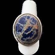 Sterling Silver Multi color Blue Jasper Ring