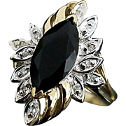 Beautiful 10 Karat Yellow & White Gold Marquise Cut Onyx and Diamond Cocktail Ring #V01.