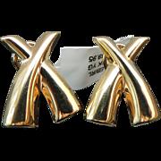 Beautiful Solid 14 Karat Yellow Gold Paloma X Post Omega Back Earrings