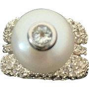 Sterling Silver 13 mm Pearl, Diamond & Topaz Ring