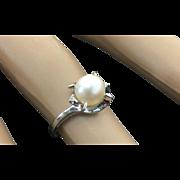 10k White Gold 7 mm Pearl & Diamond Ring