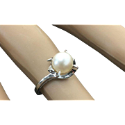 10k White Gold 7 mm Pearl & Diamond Ring