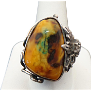 Sterling Silver Picassa Jasper Unique Ring