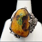 Sterling Silver Picassa Jasper Unique Ring