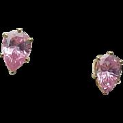 Beautiful 1.00 Carat Pear Shape Faux Pink Sapphire Stud Earrings