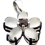 Sterling Silver Milky Quartz & Garnet Flower Pendant