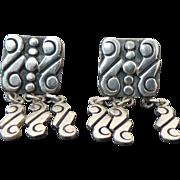 Taxco 950, R.CH for Roman Chavarrieta Screw Back Dangle Earrings