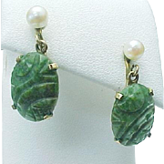 Vintage Ronci 12K Gold Filled Carved Jade & Cultured Pearl Screw Back Earrings