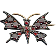 Victorian Rose Cut Bohemian Garnets Butterfly Brooch