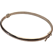 Sterling Silver/Rose Gold Vermeil Hinged Bangle Bracelet